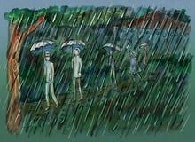 Ungar som går till och med skogen på den regniga dagen stock illustrationer