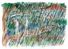 Ungar som går till och med skogen på den regniga dagen vektor illustrationer