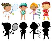 Ungar som gör den olika sportuppsättningen med konturn Royaltyfria Foton
