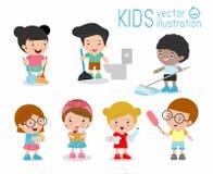 Ungar som gör lokalvård, ungar som tvättar och gör ren huset, barnmedlemmar som gör den olika sysslaillustrationen royaltyfri illustrationer