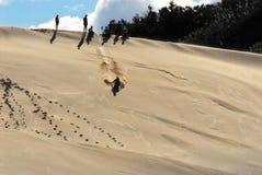 Ungar som har stor gyckel som glider ner en enorm sanddyn fotografering för bildbyråer