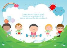 Ungar som hoppar på lekplatsen, barn hoppar med glädje, det lyckliga tecknad filmbarnet som spelar på bakgrund royaltyfri illustrationer