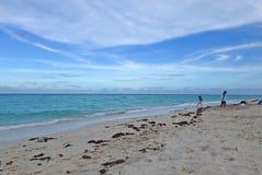 Ungar som körs på Miami Beach Royaltyfria Bilder