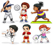 Ungar som kopplar in i olika aktiviteter vektor illustrationer