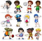 Ungar som kopplar in i olika sportaktiviteter royaltyfri illustrationer
