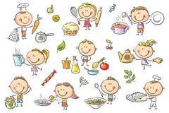 Ungar som lagar mat uppsättningen stock illustrationer