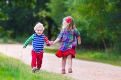 Ungar som leker i höstpark Arkivbilder