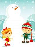 Ungar som leker med snow Royaltyfri Bild