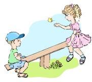 ungar som leker sawen, ser stock illustrationer