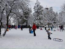 ungar som leker snow Arkivbild