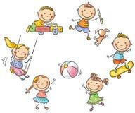 ungar som leker utomhus vektor illustrationer