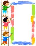 Ungar som målar en ram Arkivbilder