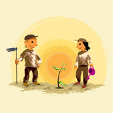 ungar som planterar treen Fotografering för Bildbyråer