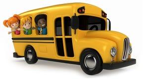 Ungar som rider skolbussen Arkivbilder