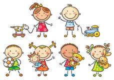 Ungar som rymmer deras leksaker royaltyfri illustrationer