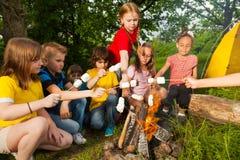 Ungar som sitter nära brasa med marshmallowen Royaltyfri Foto
