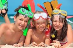 ungar som snorkeling Royaltyfria Bilder