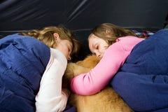 Ungar som sovar i en tent Arkivbilder