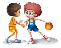 Ungar som spelar basket stock illustrationer