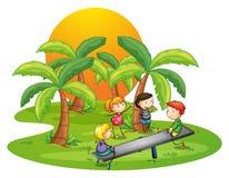 Ungar som spelar gungbrädet nära kokospalmerna Arkivfoto