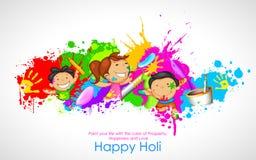 Ungar som spelar Holi stock illustrationer