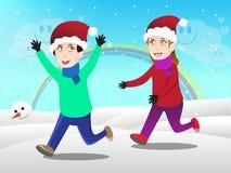 Ungar som spelar i snöillustration Fotografering för Bildbyråer