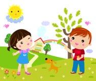 Ungar som spelar med bubblor Royaltyfria Bilder