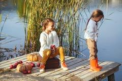 Ungar som spelar nära sjön i höst Fotografering för Bildbyråer