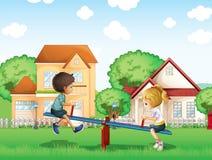 Ungar som spelar på parkera i byn royaltyfri illustrationer