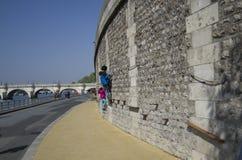 Ungar som spelar vid Seine River paris Arkivbild