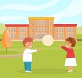 Ungar spelar nära skola stock illustrationer
