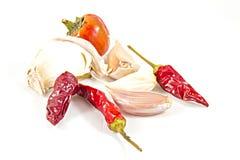 Ungarischer glühender Paprika und Knoblauch Stockfotos