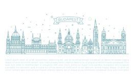 Ungarischer Reisemarkstein von historischen Gebäuden verdünnen Linie Ikonensatz Lizenzfreie Stockfotos