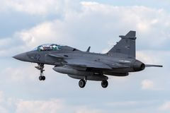 Ungarisches multirole Kampfflugzeug Luftwaffen-Ungarisch Legiero SAAB JAS-39D Gripen lizenzfreie stockbilder