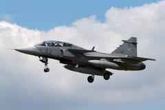 Ungarisches multirole Kampfflugzeug Luftwaffen-Ungarisch Legiero SAAB JAS-39D Gripen lizenzfreie stockfotografie
