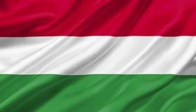 Ungarn fahnenschwenkend mit dem Wind, Illustration 3D Lizenzfreie Stockfotos