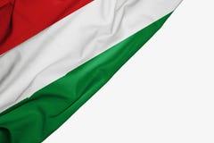 Ungarn-Flagge des Gewebes mit copyspace f?r Ihren Text auf wei?em Hintergrund lizenzfreie abbildung