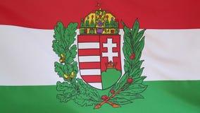 Ungarn-Flagge mit Blazon stock footage
