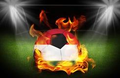 Ungarn-Fußball auf Feuer, Stockbild