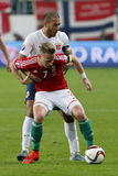 Ungarn gegen die Niederlande Endspielfußballspiel 2016 der Norwegen UEFA-Euronäheren bestimmung Lizenzfreie Stockbilder