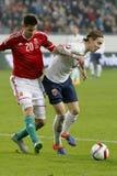 Ungarn gegen die Niederlande Endspielfußballspiel 2016 der Norwegen UEFA-Euronäheren bestimmung Lizenzfreie Stockfotos