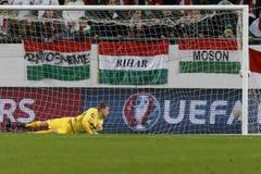 Ungarn gegen die Niederlande Endspielfußballspiel 2016 der Norwegen UEFA-Euronäheren bestimmung Lizenzfreies Stockfoto