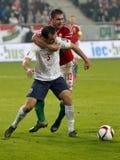 Ungarn gegen die Niederlande Endspielfußballspiel 2016 der Norwegen UEFA-Euronäheren bestimmung Lizenzfreie Stockfotografie