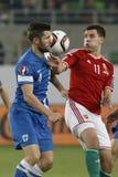 Ungarn gegen die Niederlande Fußballspiel 2016 der Finnland UEFA-Euronäheren bestimmung Stockbilder