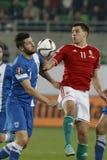 Ungarn gegen die Niederlande Fußballspiel 2016 der Finnland UEFA-Euronäheren bestimmung Lizenzfreie Stockfotos