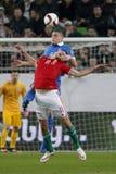 Ungarn gegen die Niederlande Fußballspiel 2016 der Griechenland UEFA-Euronäheren bestimmung Lizenzfreie Stockfotografie