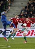 Ungarn gegen die Niederlande Fußballspiel 2016 der Griechenland UEFA-Euronäheren bestimmung Lizenzfreie Stockfotos