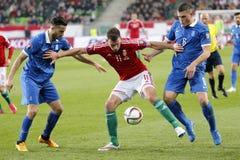 Ungarn gegen die Niederlande Fußballspiel 2016 der Griechenland UEFA-Euronäheren bestimmung Lizenzfreie Stockbilder