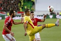 Ungarn gegen die Niederlande Fußballspiel 2016 der Rumänien UEFA-Euronäheren bestimmung Lizenzfreies Stockbild