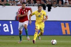 Ungarn gegen die Niederlande Fußballspiel 2016 der Rumänien UEFA-Euronäheren bestimmung Lizenzfreie Stockbilder